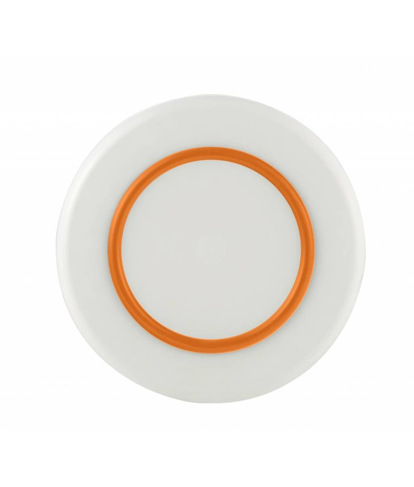 Sorona Palm - Groot Bord ( 25 cm ) Onbreekbaar Warm Wit met antislip rand in: Oranje