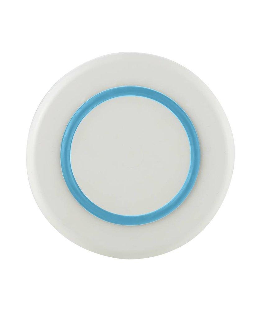 Sorona Palm - Klein Bord ( 21 cm ) Onbreekbaar Warm Wit met antislip rand in: Lichtblauw / Vivid