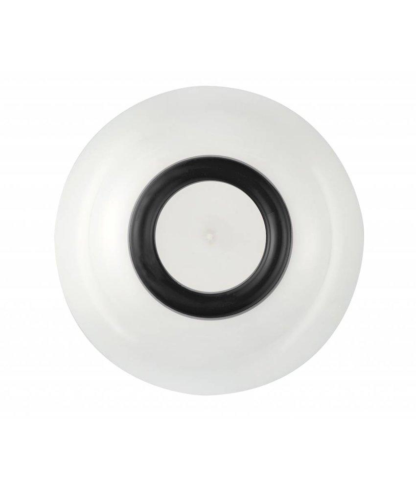 Schaaltje / Kom - Uniek en onbreekbaar ( 15 cm ) Palm - materiaal: Sorona - Warm Wit met antislip rand in: BLACK / ZWART