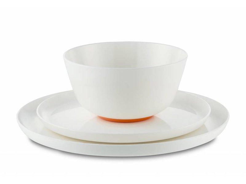 Schaaltje / Kom - Uniek en onbreekbaar ( 15 cm ) Palm - materiaal: Sorona - Warm Wit met antislip rand in: NAVY