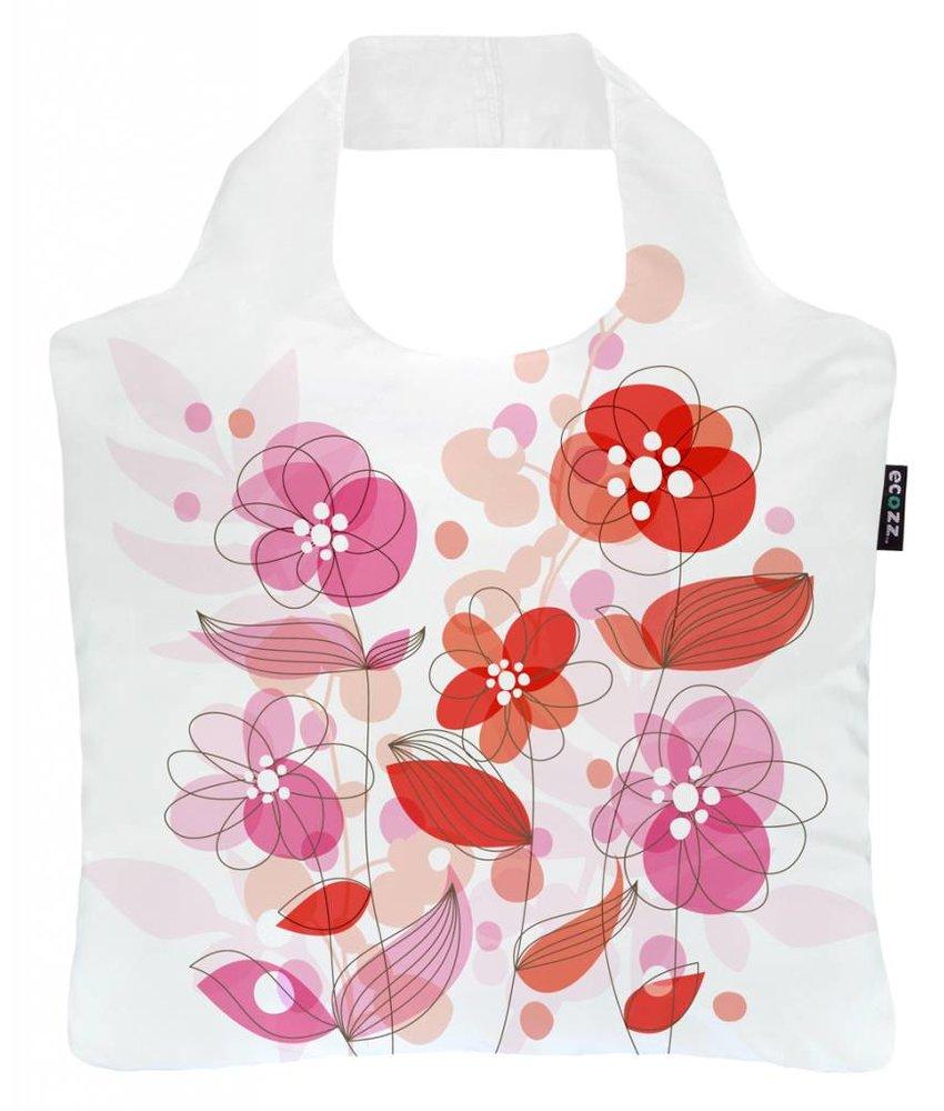 ECOZZ Tas Eco Tas met rits - Scherpste ALL IN aktie prijs - Design: Happy Rose HA02- Opvouwbaar - Duurzaam