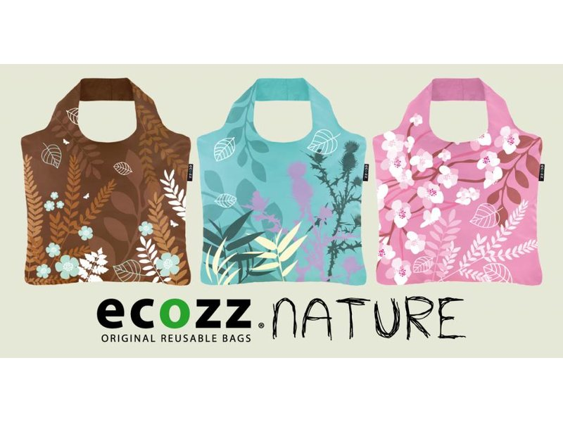 ECOZZ Tas Eco Tas met rits - Scherpste ALL IN aktie prijs - Design: Nature NT03 - Opvouwbaar - Zeer sterk - Duurzaam