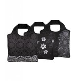 ECOZZ Tas Eco Tas met rits - Scherpste ALL IN aktie prijs - Design: Black and White 2 BW02 - Opvouwbaar - Duurzaam