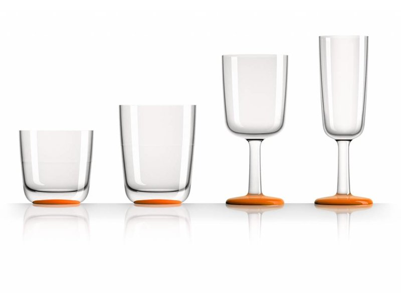 SET van alle 4 modellen onbreekbare Marc Newson glazen Tritan - Met antislip voet in kleur