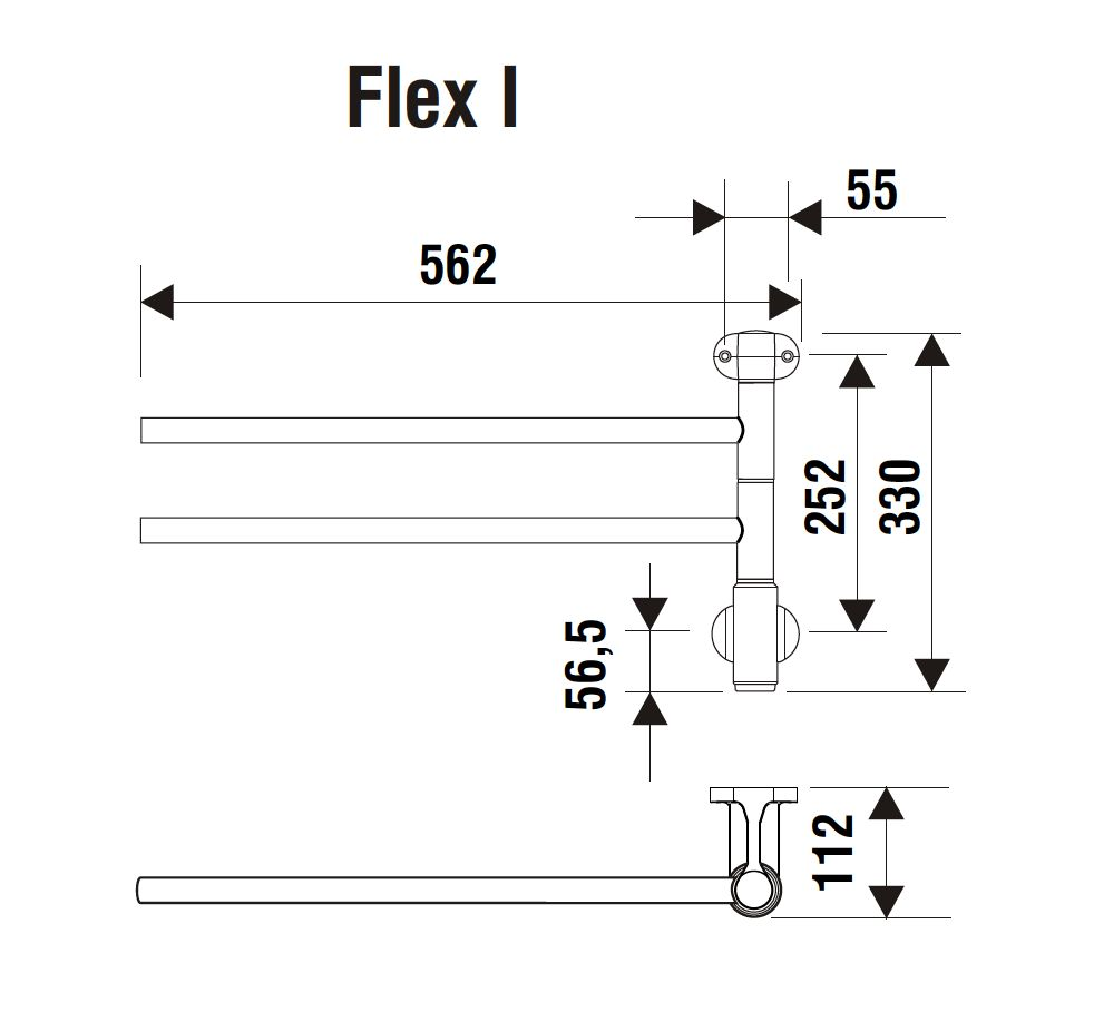 Elektrische Handdoekdroger Chroom / PAX Flex 1 ( 20 W ) 2 stangs ...