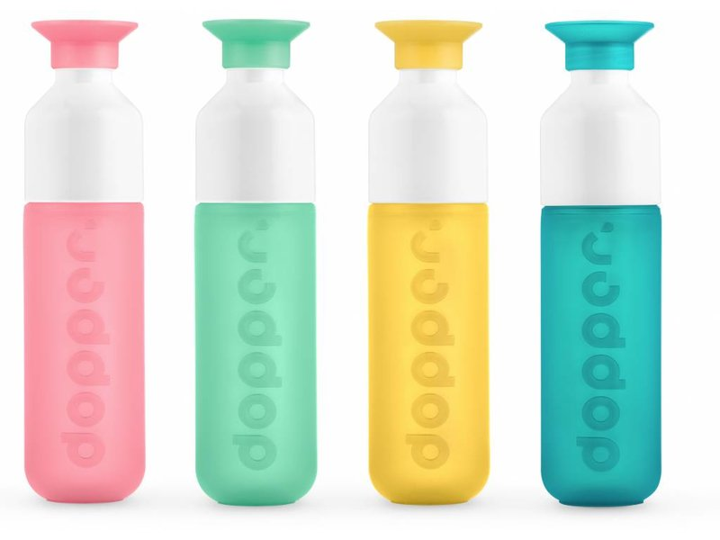 NIEUW !! DOPPER Waterfles kleur: GEEL ( Sunshine Splash ) 0.45 ltr. Dopper Drinkfles ( Paradise Collection )