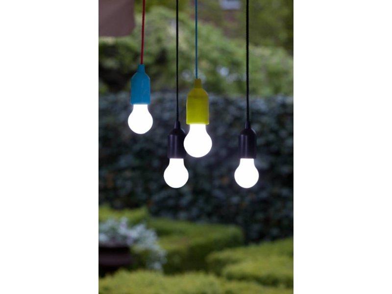 Retro Pull Lamp 1 W ( Trekkoord ) Blauw koord en Magenta  fitting
