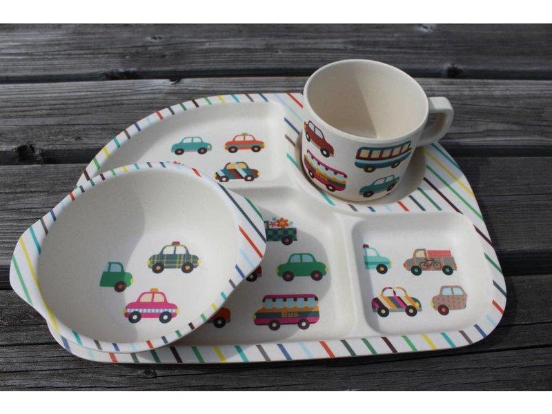 Komplete BamBoo Kinder Eet Set - decoratie: Transport