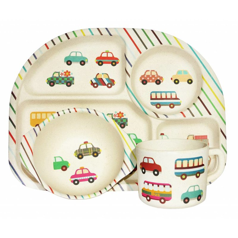 Komplete BamBoo Kinder Eet Set - decoratie: Transport