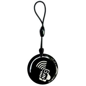 NFC-Sleutelhanger+ ID. Epoxy Zwart/NFC-Logo +ID