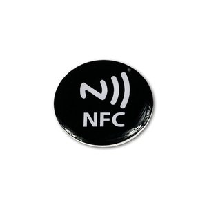 NFC PVC tag NTAG213. Epoxy, Zwart/Logo