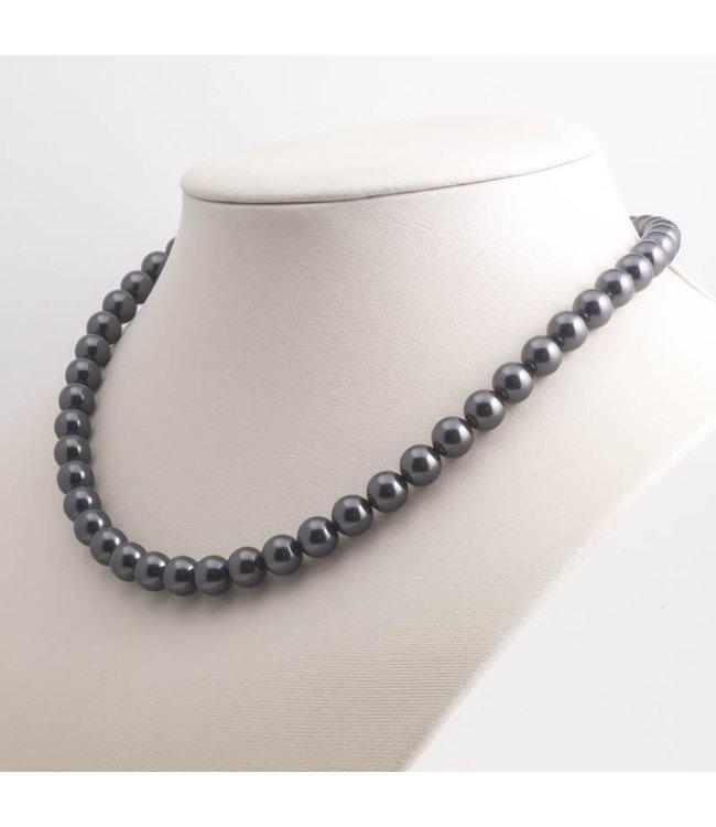 Krikor Donker grijze parel ketting van 8 mm black pearl