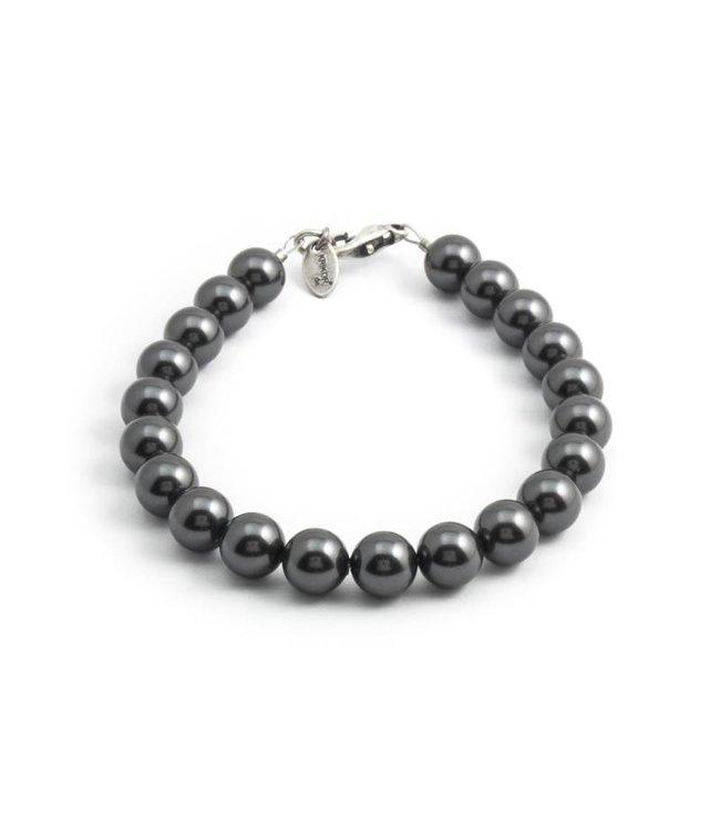 Krikor Donker grijze parel armband van 8 mm black pearl