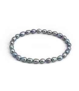 Aurora Patina Blauwe parel armband 5 mm