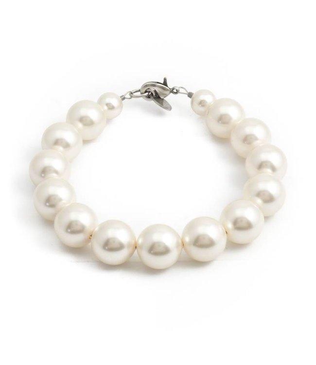 Krikor Witte parel armband met 12 mm cream pearls