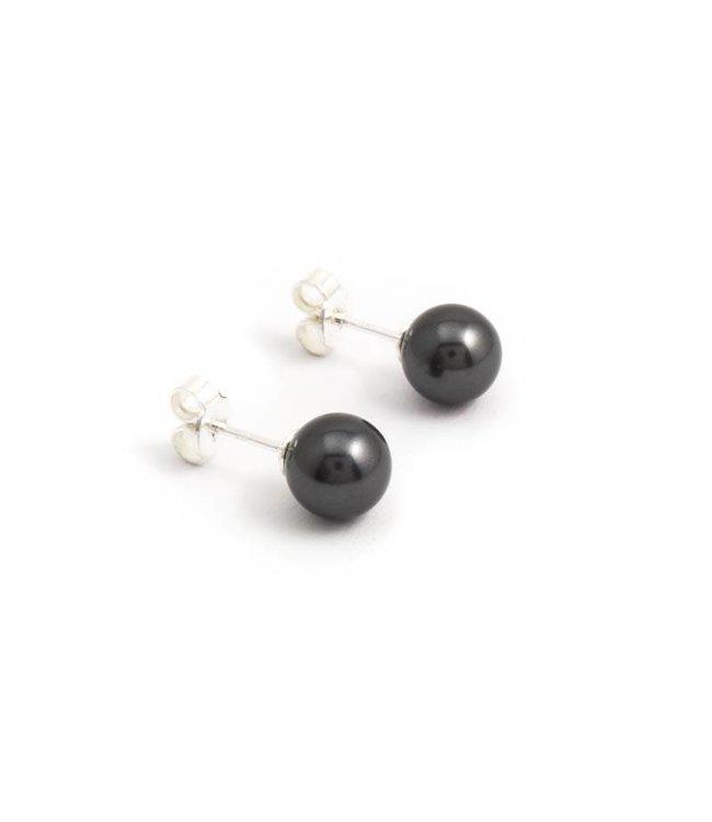 Krikor Donker grijze parel oorknopjes 8 mm black pearl