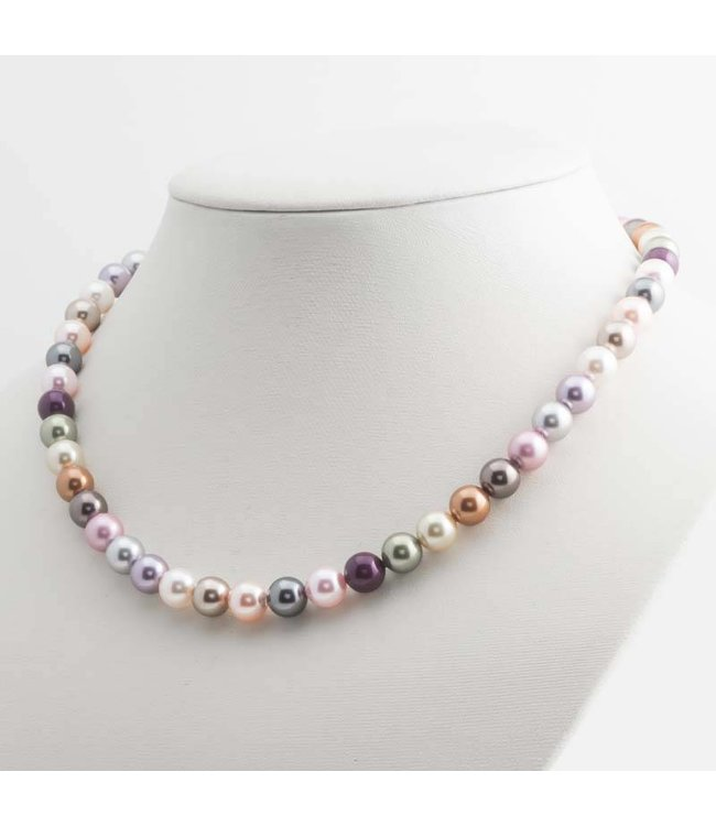 Krikor Parel ketting met 8 mm multi color Swarovski parels