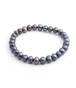 Aurora Patina Blauwe parel armband 6 mm