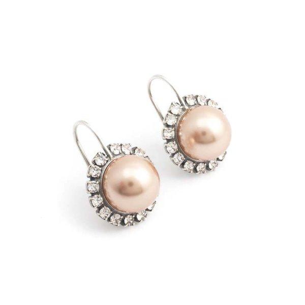 Donker roze parel oorbellen 10 mm rosé goud