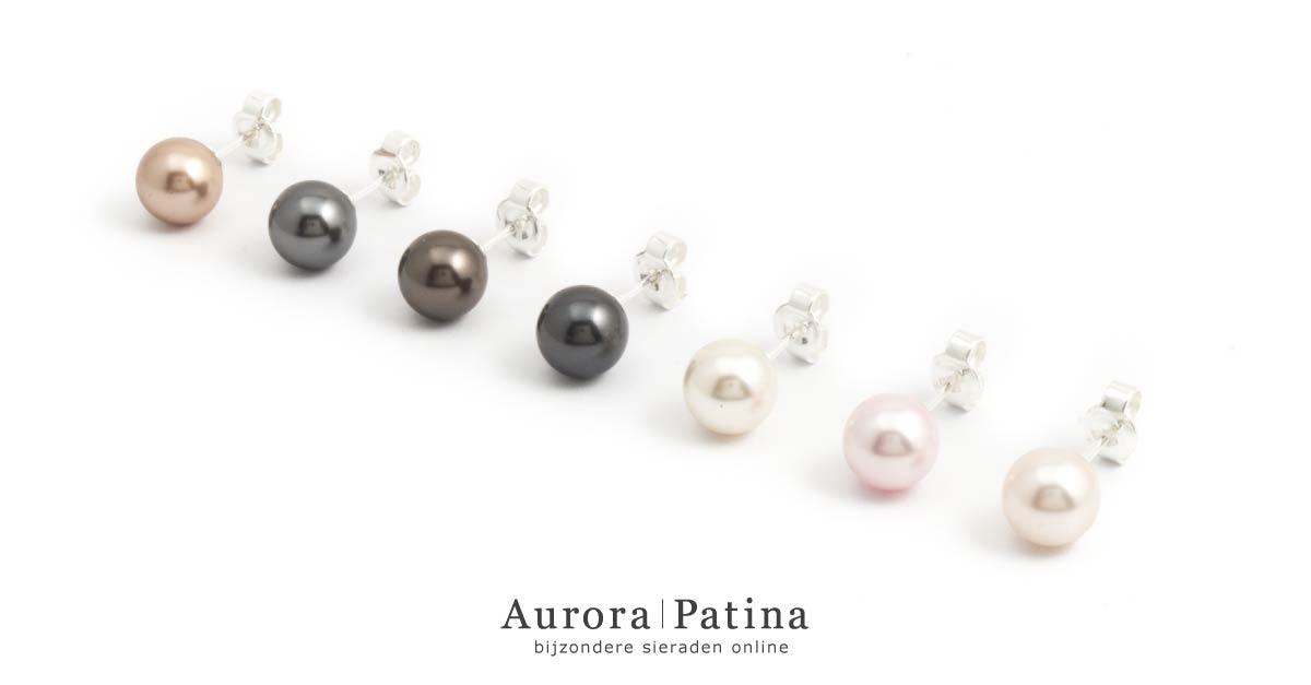 Aurora Patina parel oorknopjes van Krikor