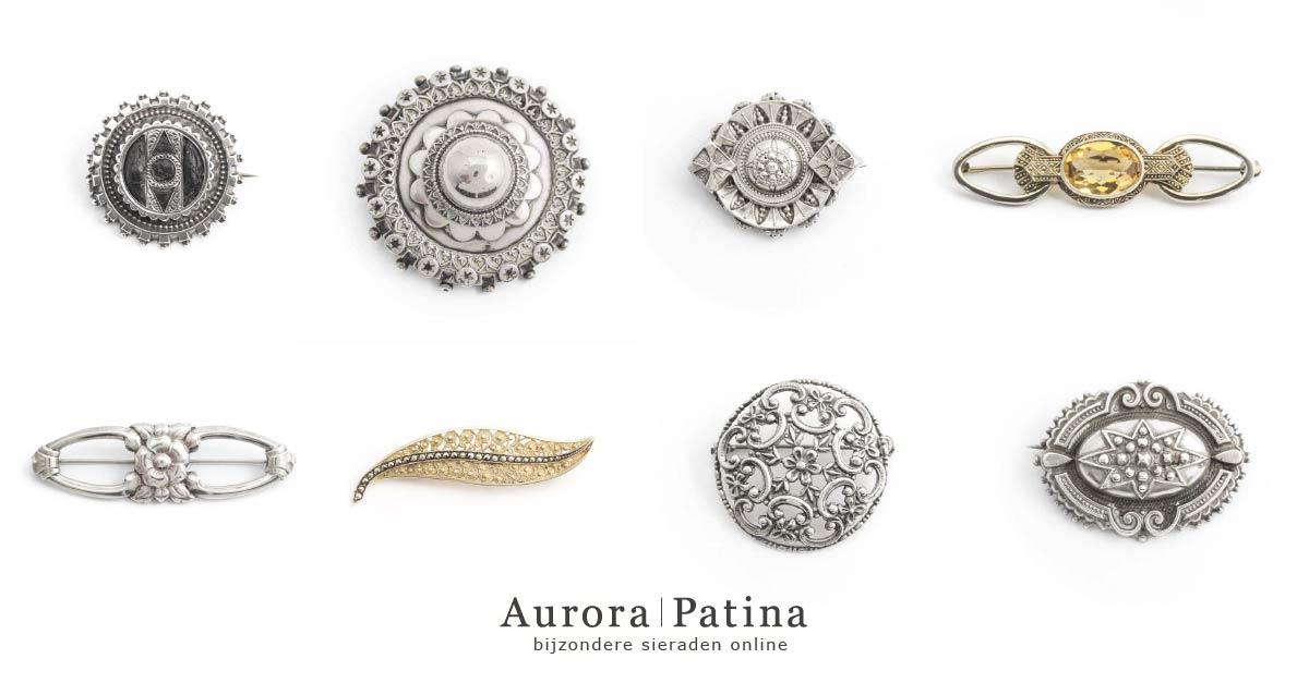 Een verzameling vintage en antieke broches