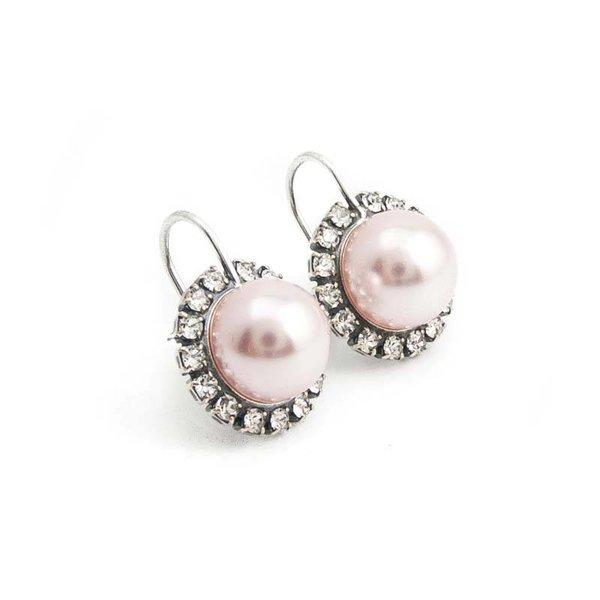 Roze parel oorbellen 10 mm