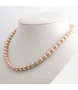 Krikor Donker roze parel ketting 8 mm rosé goud