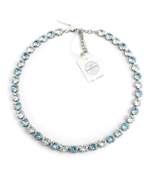 Krikor Licht blauw collier met Swarovski kristallen