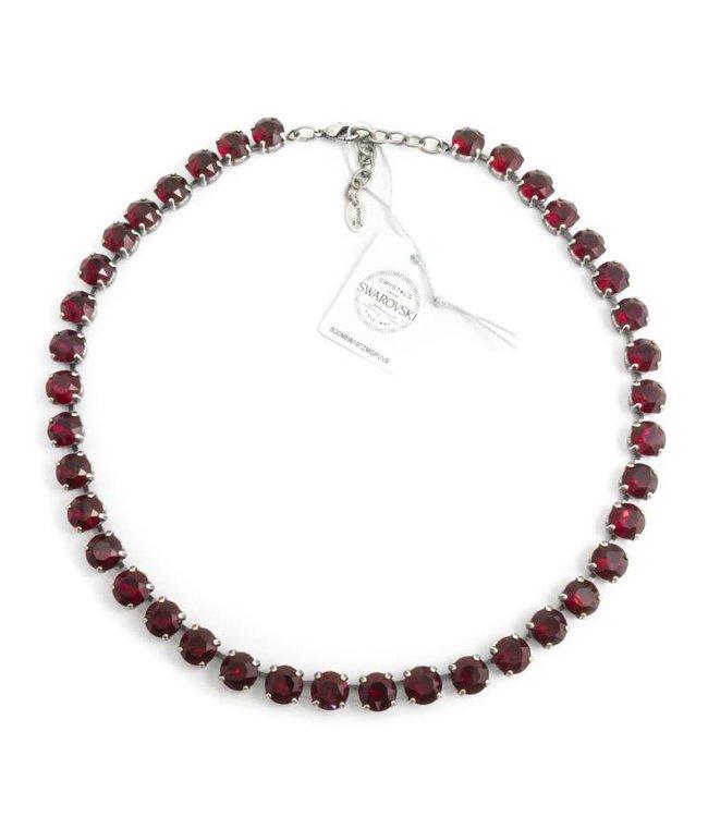 Krikor Robijn rood collier met Swarovski kristallen