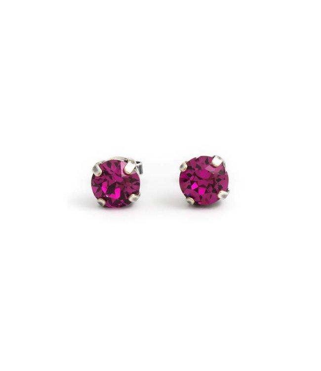 Krikor Zilveren oorknopjes met 8 mm fuchsia roze kristal
