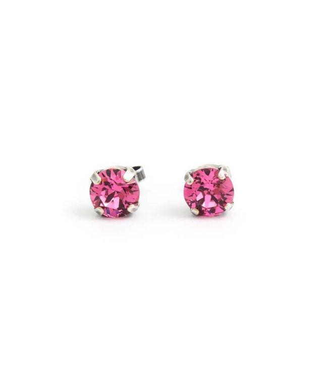 Krikor Zilveren oorknopjes met 8 mm roze kristal
