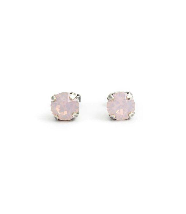 Krikor Zilveren oorknopjes met 8 mm licht roze kristal