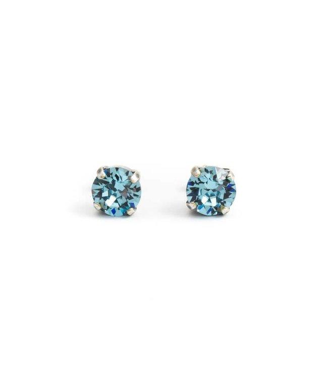 Krikor Zilveren oorknopjes met 8 mm aquamarijn blauw kristal