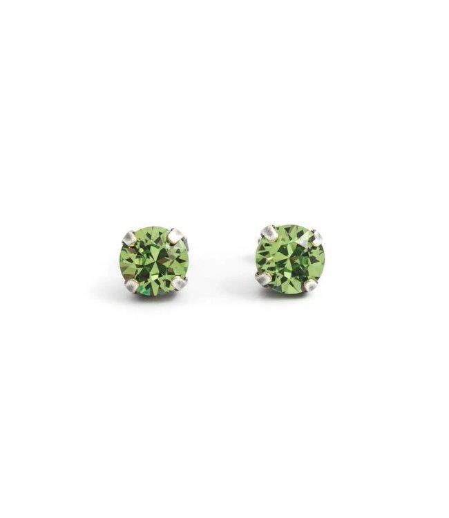 Krikor Zilveren oorknopjes met 8 mm peridot groen kristal