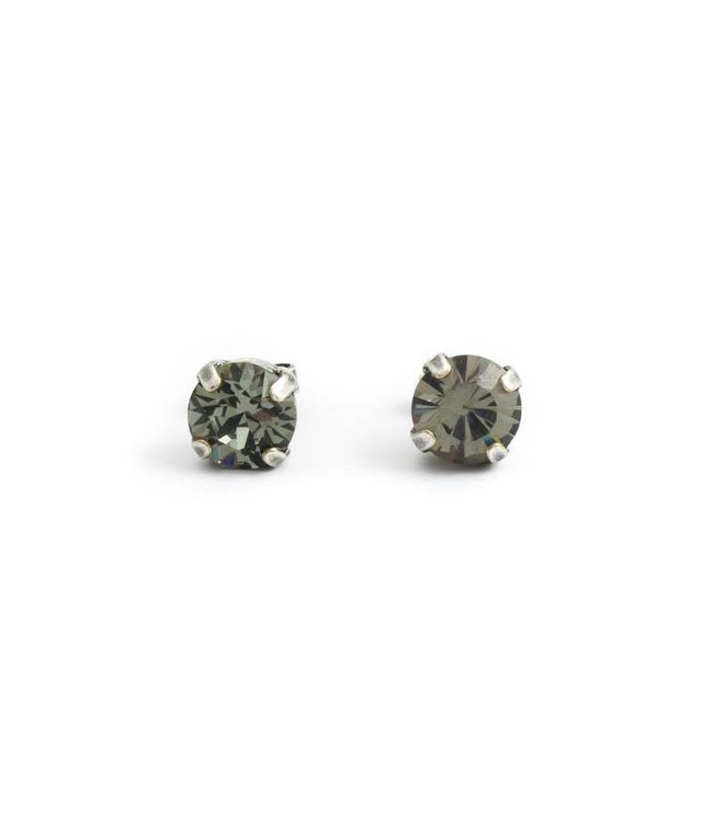 Krikor Zilveren oorknopjes met 8 mm donker grijs kristal
