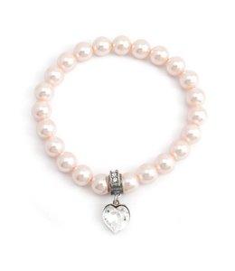Krikor Perzik roze parel armband hartje