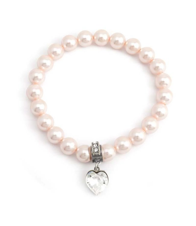 Krikor Perzik roze parel armband met bedel hartje
