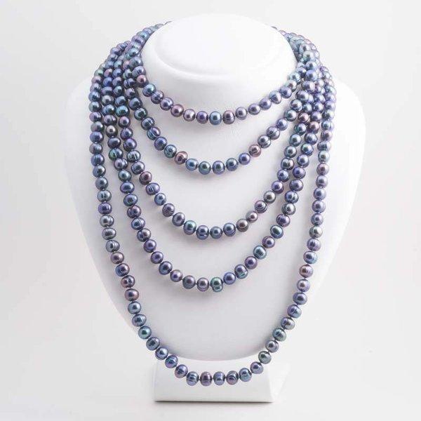 Blauwe parelketting 250 cm