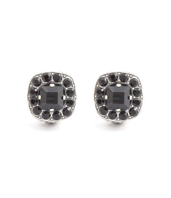 Krikor Zwarte oorclips met Swarovski kristallen