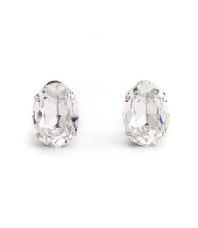 Krikor Heldere kristal oorclips met Swarovski kristal 18x14 mm