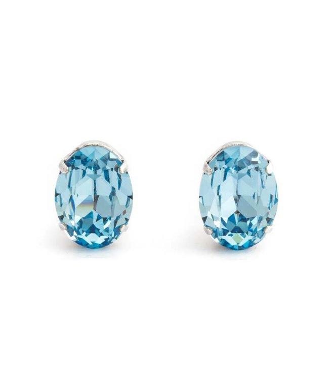 Krikor Licht blauwe oorclips met auqamarine kristal 18x14 mm