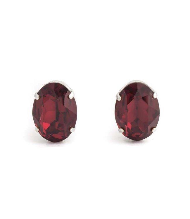 Krikor Rode oorclips met ruby kristal 18x14 mm
