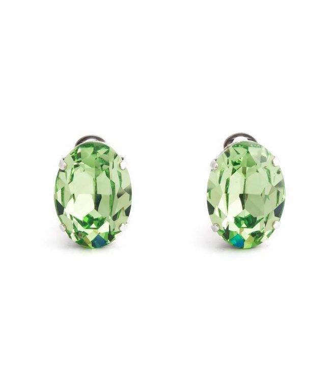 Krikor Licht groene oorclips met peridot kristal 18x14 mm