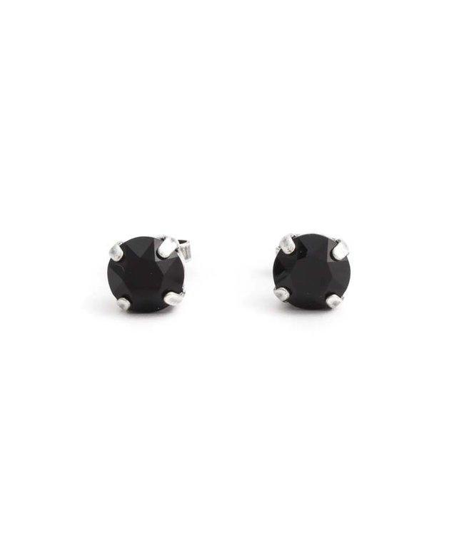 Krikor Zilveren oorknopjes met 8 mm zwart kristal