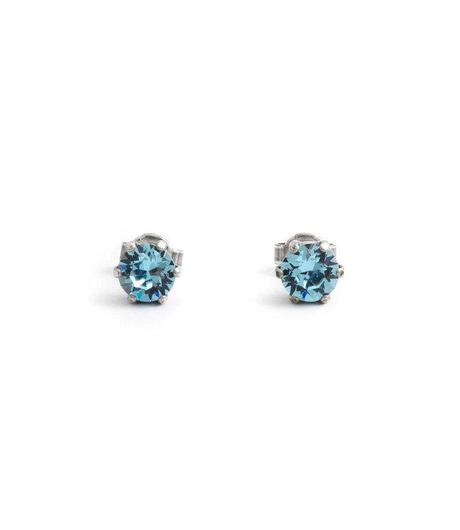 Krikor Zilveren oorknopjes met 6 mm aquamarijn blauw kristal