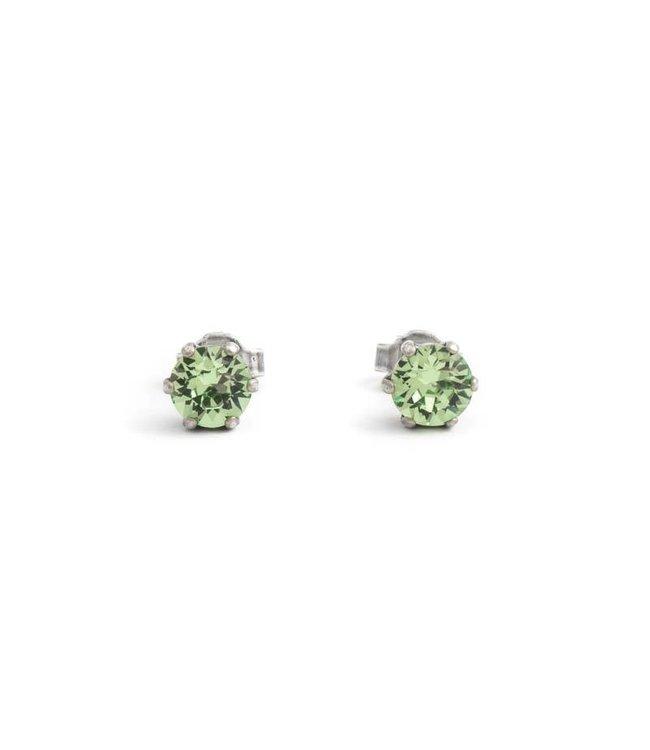 Krikor Zilveren oorknopjes met 6 mm peridot groene kristallen