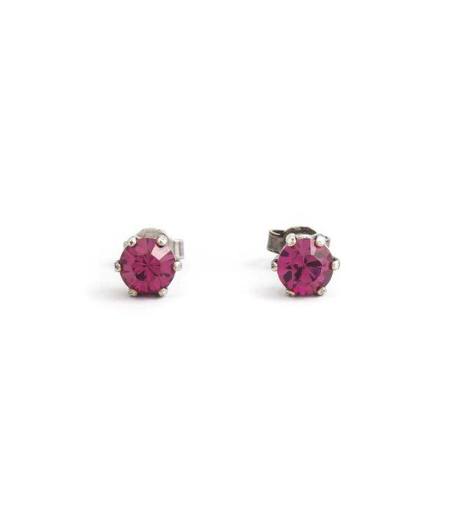 Krikor Zilveren oorknopjes met 6 mm fuchsia roze kristal