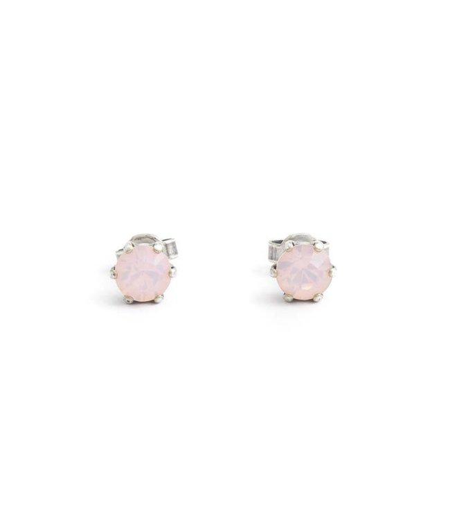 Krikor Zilveren oorknopjes met 6 mm opaque roze kristal