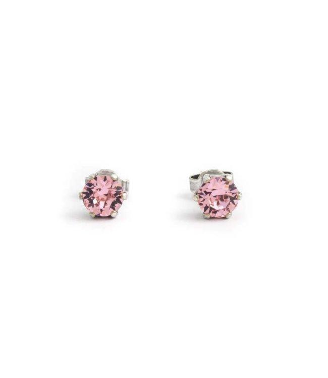 Krikor Oorknopjes met 6 mm licht roze kristallen