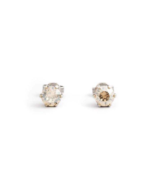 Krikor Oorknopjes met 6 mm beige kristal